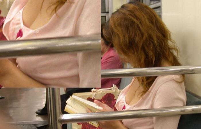 (胸チラえろ写真)拝めたら座れなくても平気ww列車内で見かけた着衣美巨乳と胸チラwwwwww