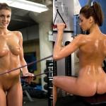 【海外エロ画像】筋肉よりも気になるものが…外人さんの全裸エクササイズwww